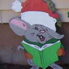 Handmade custom painted wooden  Singing mouse with Santa hat for your yard