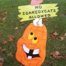 Handmade Wooden No Scaredy Cats pumpkin Halloween yard stake