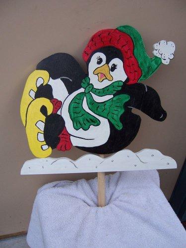 Handmade Custom painted falling skating penguin for your yard