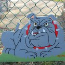 Handmade customizeable wooden Bulldog sign for your yard with various signs