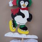 Handmade Custom painted standing skating penguin for your yard