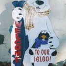 Handmade Custom painted polar bear holding a fish for your yard