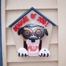 Handmade custom painted wooden Beware of Dog sign