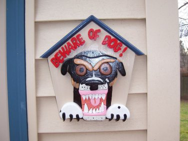 Handmade custom painted wooden Beware of Dog sign