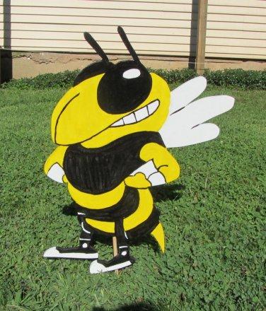 Handmade custom painted wooden GA Tech Yellow Jacket mascot for your yard