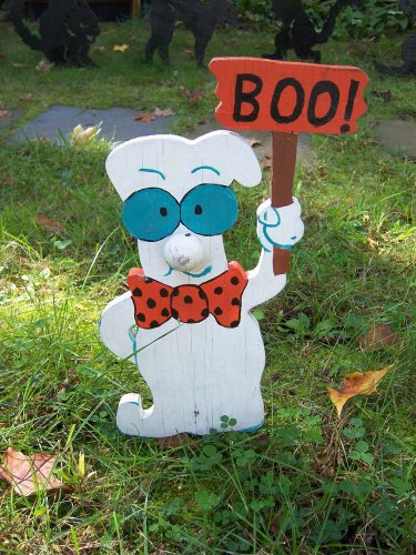 Handmade Halloween Smart ghost with boo sign