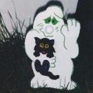 Handmade Halloween Ghost holding kitten yard stake
