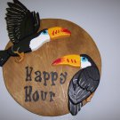 Happy hour plaque with two toucans