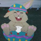 Handmade custom painted Easter bunny in an egg for your yard