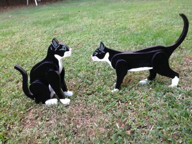 Handmade custom painted wooden Tuxedo cats for your yard