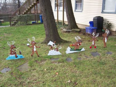 Handmade custom painted wooden playful reindeer for your yard- Set of 6