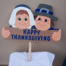 Handmade Wooden Happy Thanksgivng Pilgrim yard stake