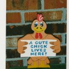 "Handmade wooden custom painted ""A Cute Chick Lives Here"" sign for your yard"