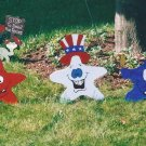 Handmade wooden custom painted set of three patriotic stars for your yard