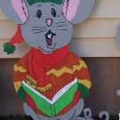 Handmade custom painted wooden Singing mouse for your yard
