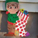 Handmade custom painted wooden Happy Elves for your yard