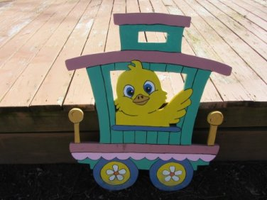 Handmade painted Easter Train Caboose car