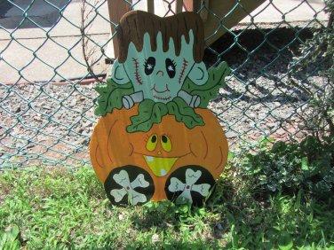 Handmade painted Monster Express Halloween Frankenstein train car