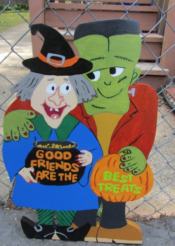 Handmade painted Happy Witch and Frankenstein Halloween yard stake