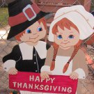 Handmade painted Thanksgiving Pilgrim boy and girl yard stake