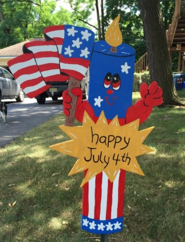 Handmade wooden custom painted Firecracker and flag for your patriotic holidays