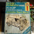 haynes  30065   dodge  plymouth   vans  1971-1996