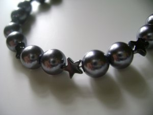 Metallic Grey Rounds and Stars Necklace