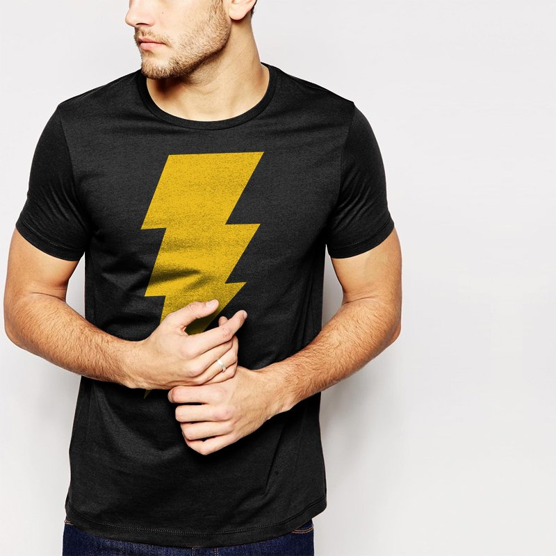 CAPTAIN SHAZAM Men T-Shirt Superhero Comics