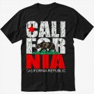 California Republic state Bear Flag Black T-Shirt Screen Printing