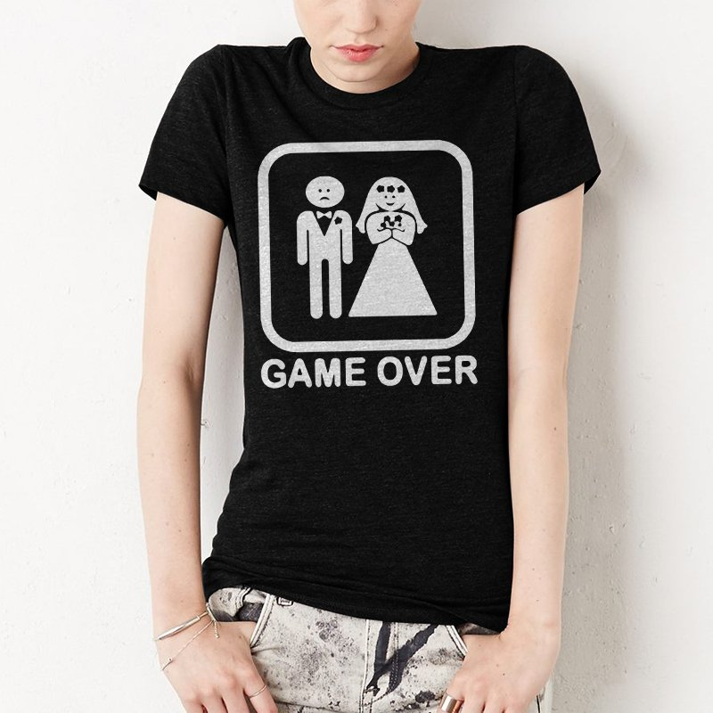 Game Over funny Women T-SHIRT humor mariagge gag stick figure wedding