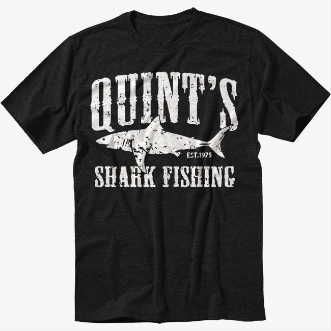 Quint's Shark Fishing Jaws Black T-Shirt Screen Printing