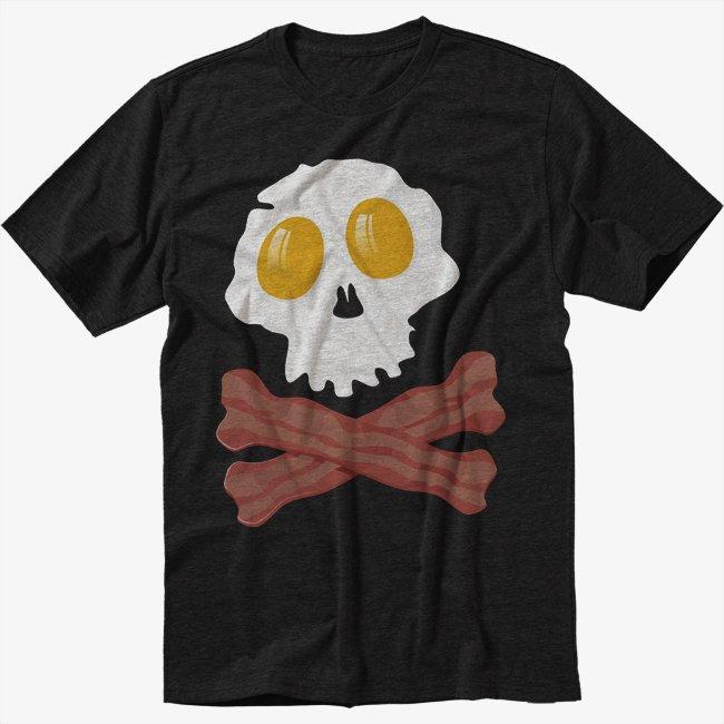 Bacon & Eggs Skull & Crossbones Bacon Strips Black T-Shirt Screen Printing