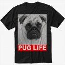Dog Pug Life Slogan Black T-Shirt Screen Printing