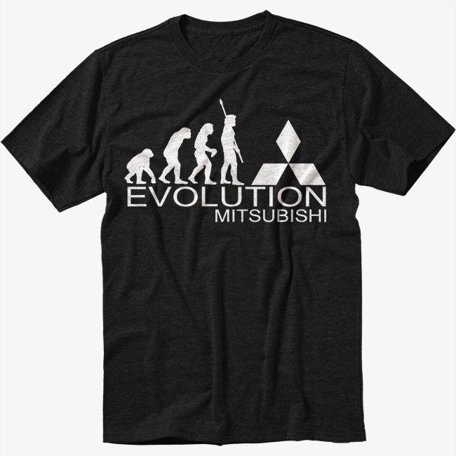 Evolution of man EVOLUTION-MITSUBISHI Black T-Shirt Screen Printing