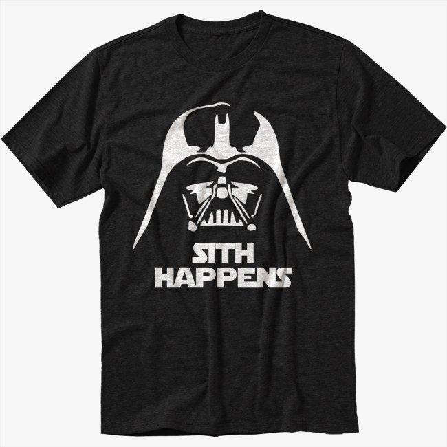 FUNNY STAR WARS SHIRT SITH HAPPENS VADER Black T-Shirt Screen Printing
