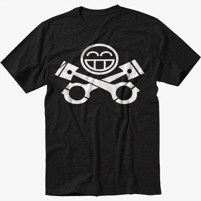 JDM RACING CAR Piston Smiley face Black T-Shirt Screen Printing