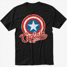 Marvel Captain America Black T-Shirt Screen Printing