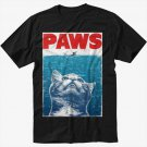PAWS PARODY Funny Hilarious kitten Black T-Shirt Screen Printing