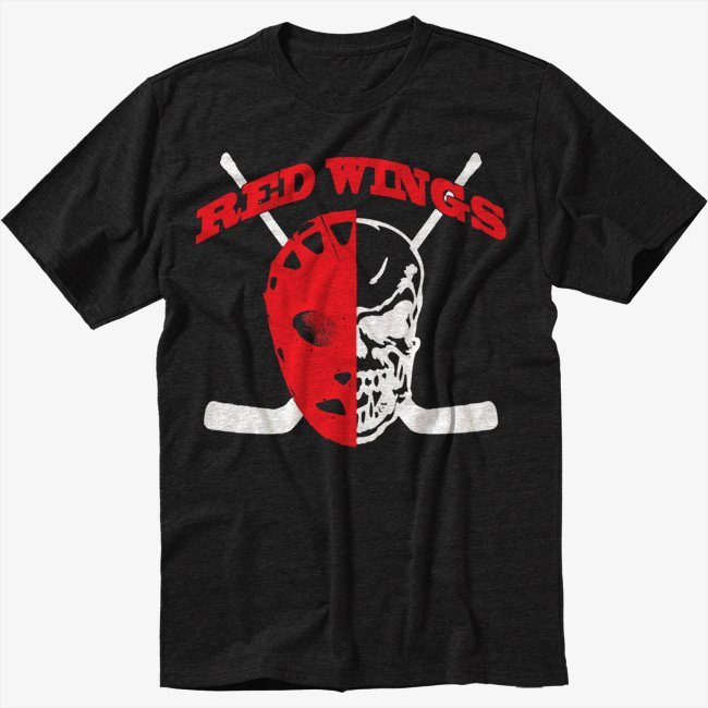 Red Wings - Hockey Player Mask Black T-Shirt Screen Printing