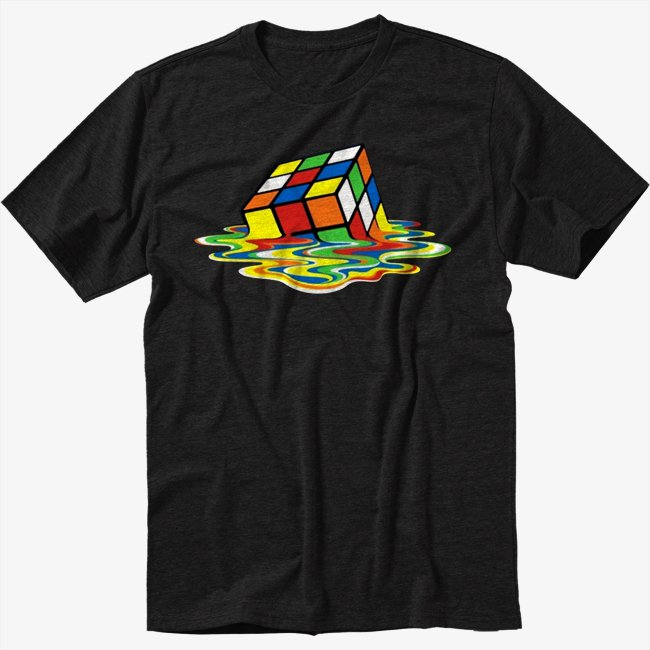 Sheldon Rubik's Cube Black T-Shirt Screen Printing