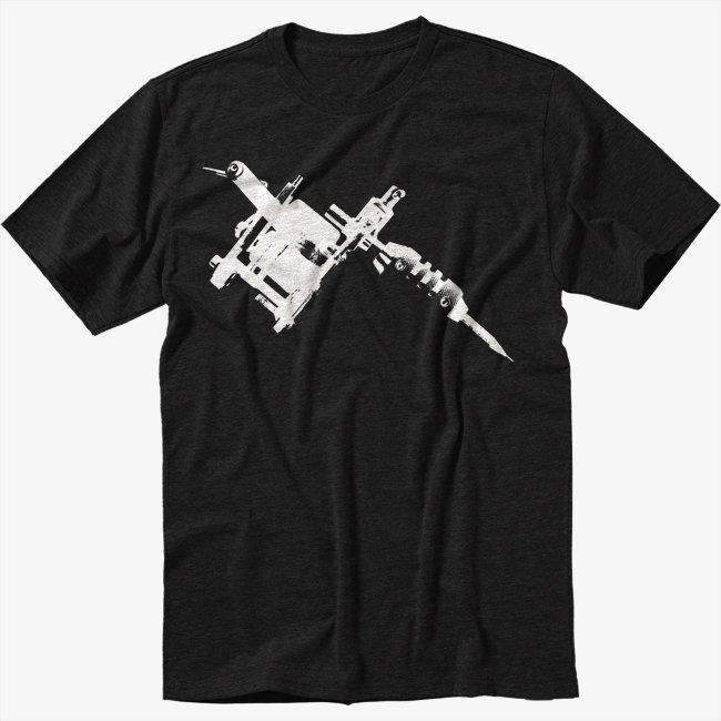 Tattoo Gun Machine Inked Black T-Shirt