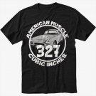 327 CI AMERICAN MUSCLE T-Shirt CAR GM CHEVY CAMARO Black T Shirt