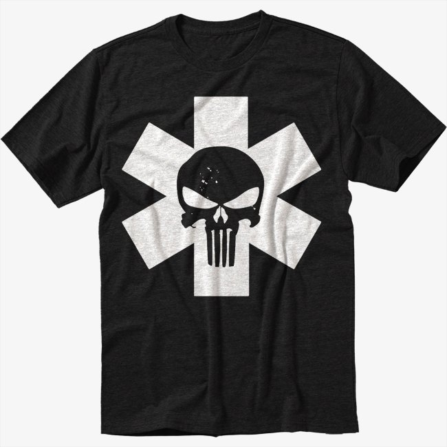 PUNISH STAR LIFE MEDIC PARAMEDIC Black T-Shirt EMT EMS NURSE