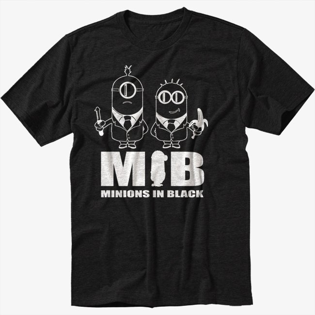 Minions In Black T-Shirt Funny Tee