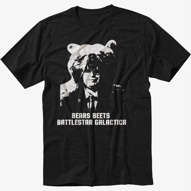 THE OFFICE BEARS Black T-Shirt BEETS BATTLESTAR GALACTICA