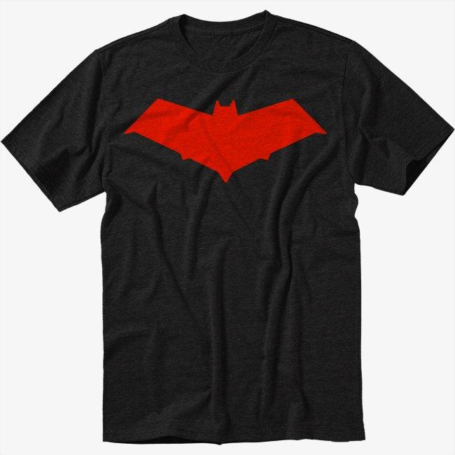 Red Hood Logo Red Bat Symbol Jason Todd Men Black T Shirt