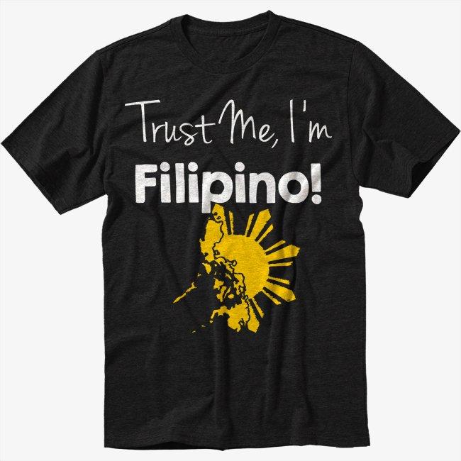 Trust Me I'm Filipino Men Black T-Shirt