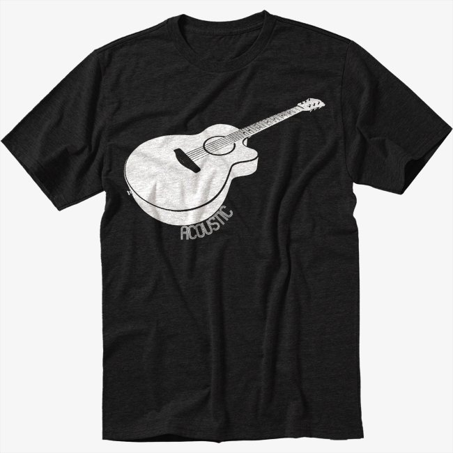 Acoustic Guitar Black T-Shirt