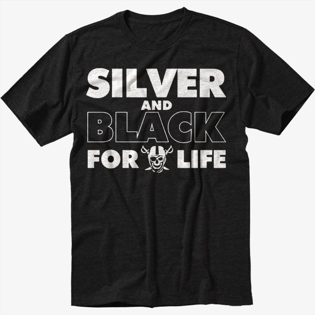 Silver and Black Forever Oakland Raiders Black T-Shirt
