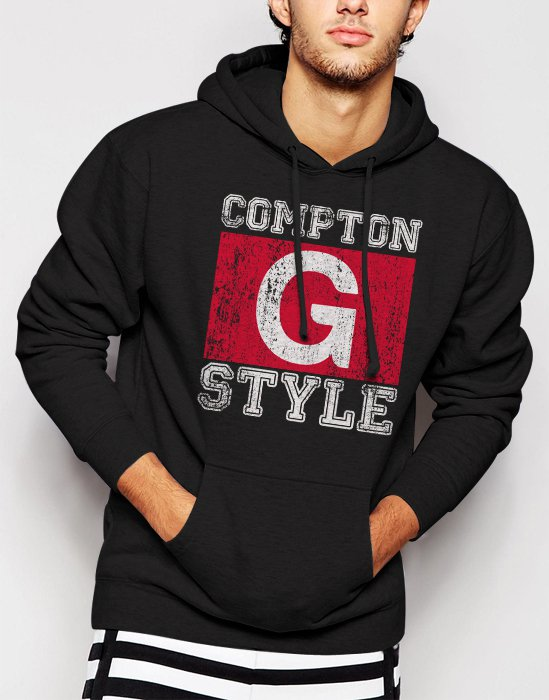 New Rare Compton G Style Gangsta Ice Cube Gangster Hip Hop Men Black Hoodie Sweater